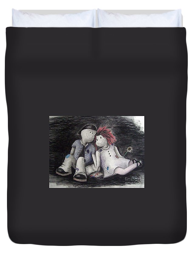 Ragdolls Duvet Cover featuring the drawing Only A Moment by Cynthia Campbell