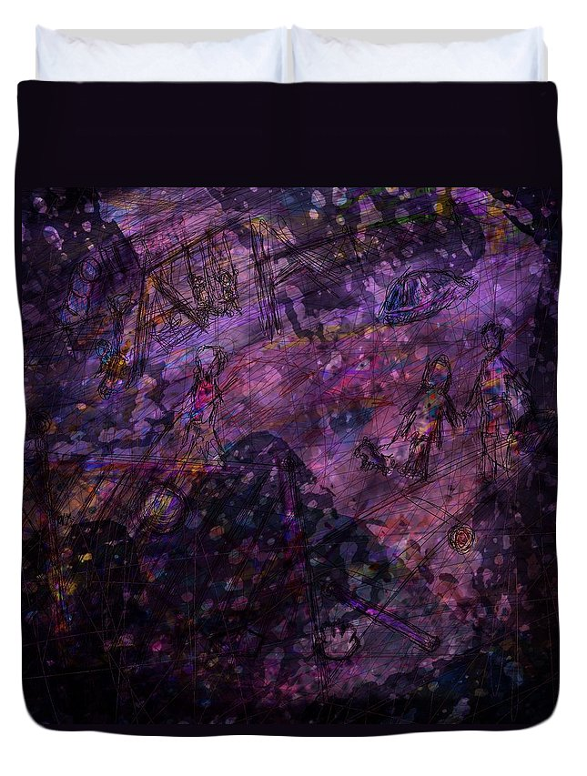 Abstract Duvet Cover featuring the digital art Only Memories by Rachel Christine Nowicki