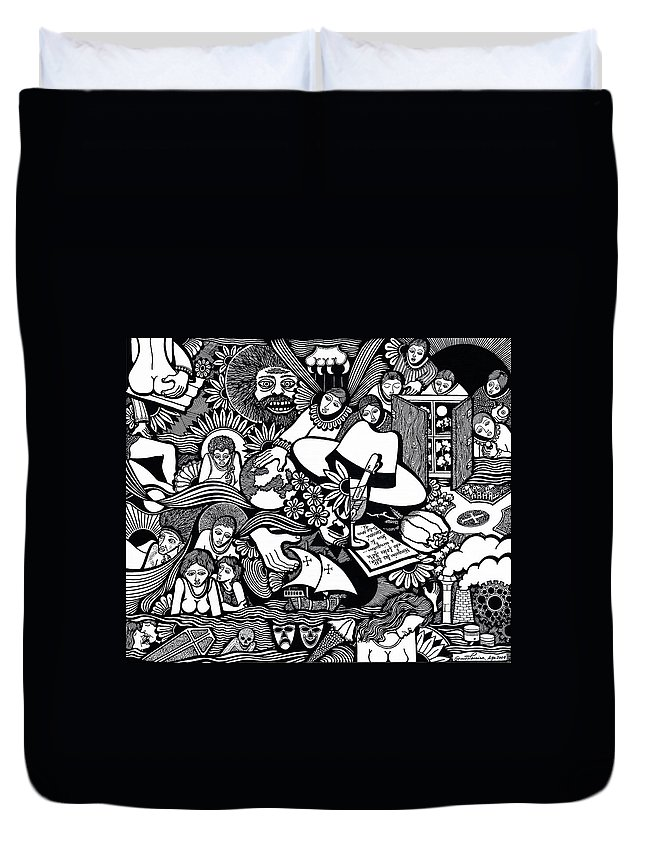 Drawing Duvet Cover featuring the drawing Only You Are Important To Yourself by Jose Alberto Gomes Pereira
