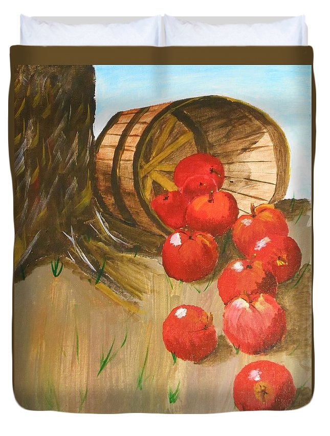 Apples Duvet Cover featuring the painting Oops by Chris Hayden