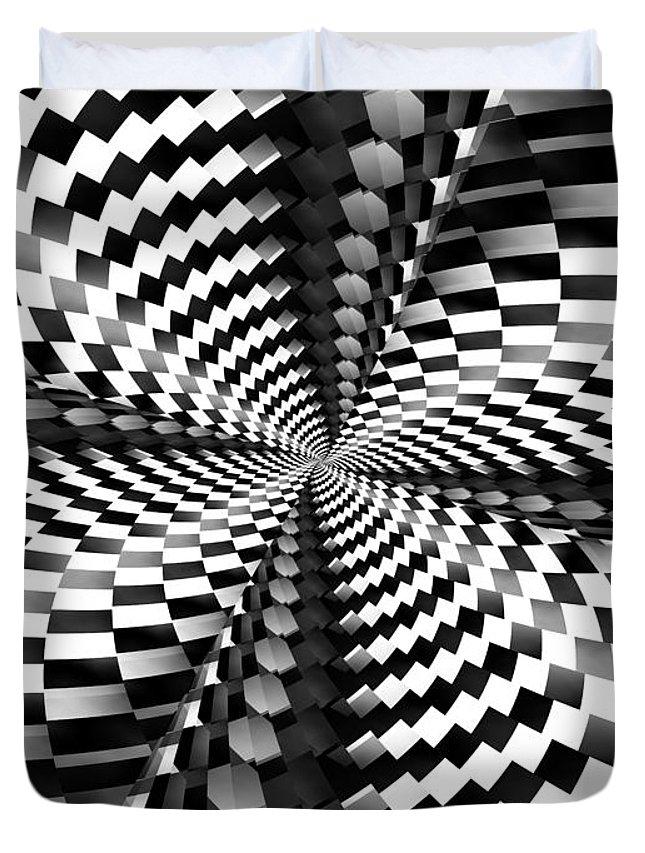 Op Art Duvet Cover featuring the digital art Op Art Twist by Keith Bowden