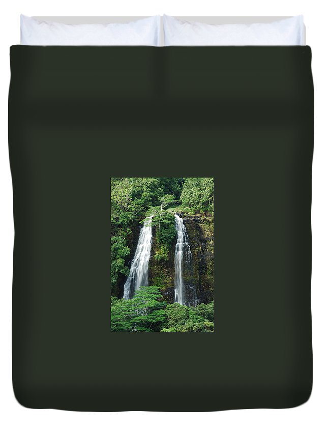 Opaekaa Waterfall Duvet Cover featuring the photograph Opaekaa Waterfall by Michael Peychich