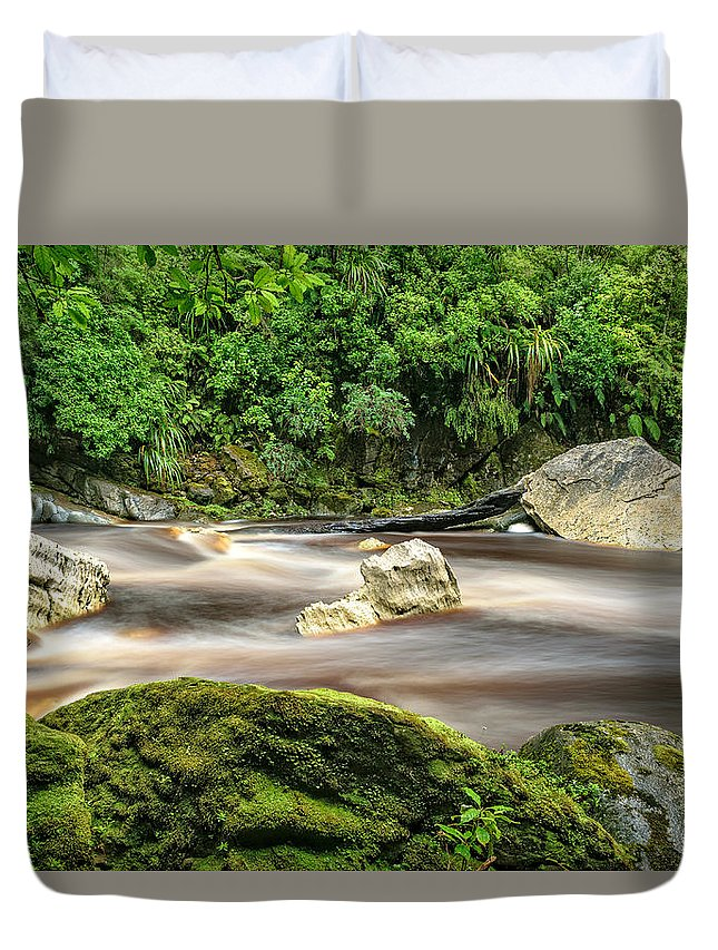 Karamea Duvet Cover featuring the photograph Oparara River by Robert Green