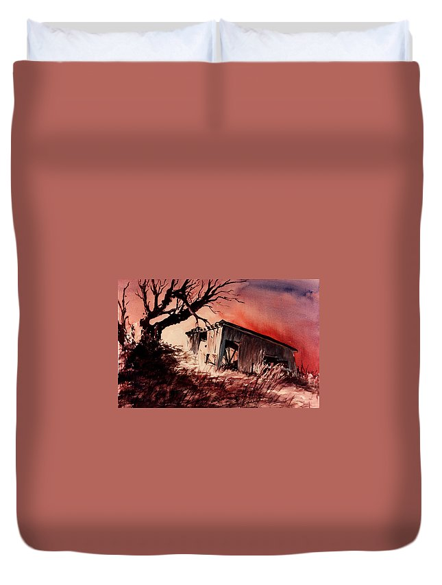 Landscape Duvet Cover featuring the painting Open House by Rachel Christine Nowicki
