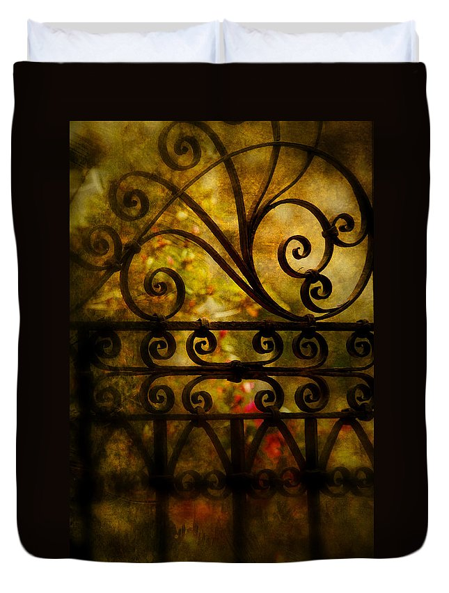 Gate Duvet Cover featuring the photograph Open Iron Gate by Susanne Van Hulst