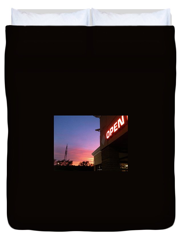Open Duvet Cover featuring the photograph Open Late by Trish Hale