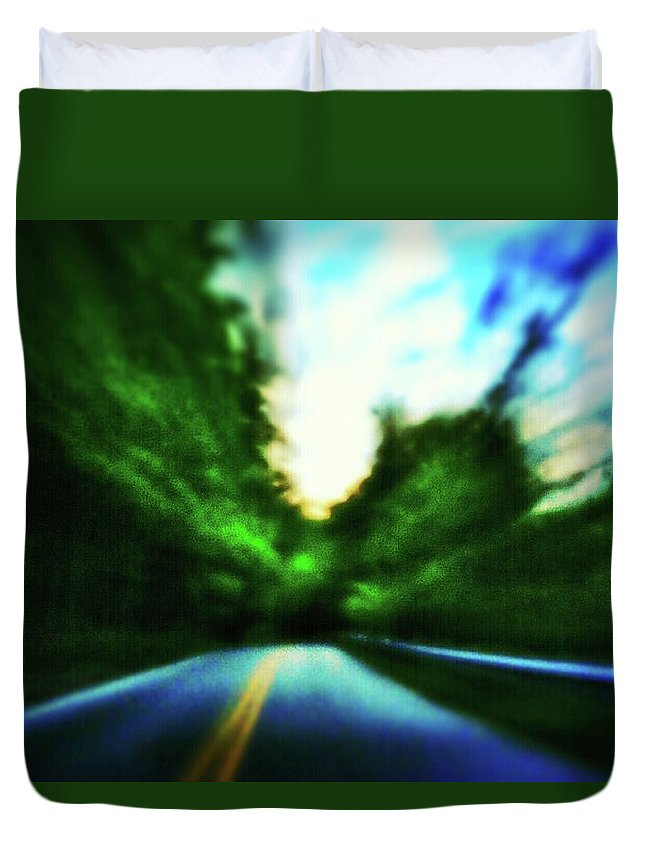 Pinhole Duvet Cover featuring the photograph Open Road by Al Harden