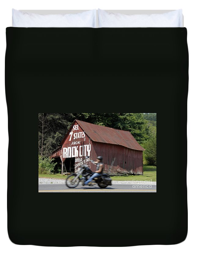 Motorcycle Duvet Cover featuring the photograph Open Road by David Lee Thompson
