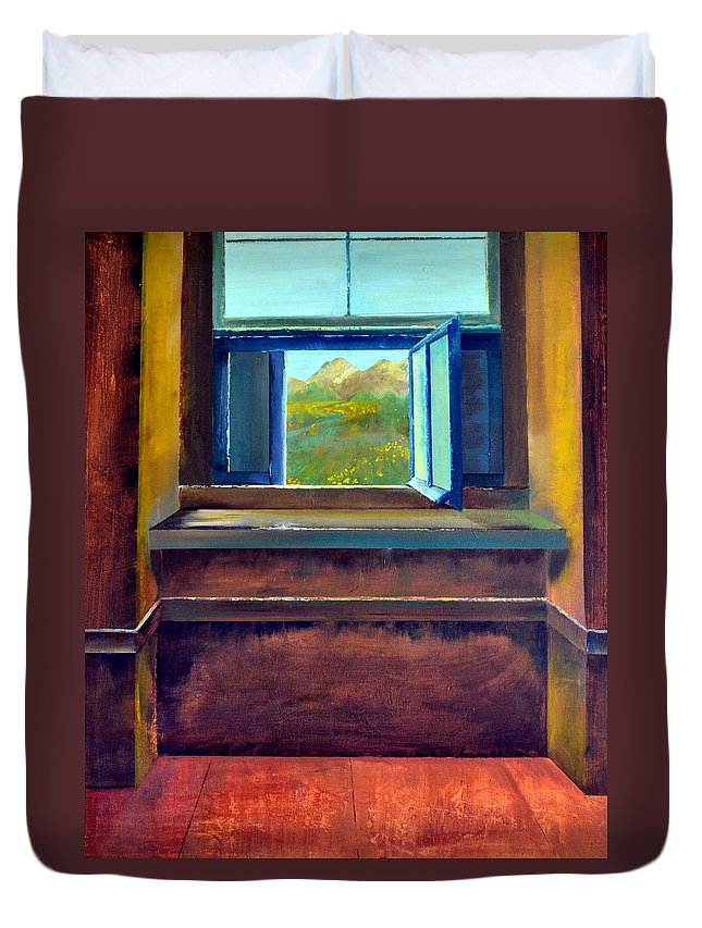 Trompe L'oeil Duvet Cover featuring the painting Open Window by Michelle Calkins