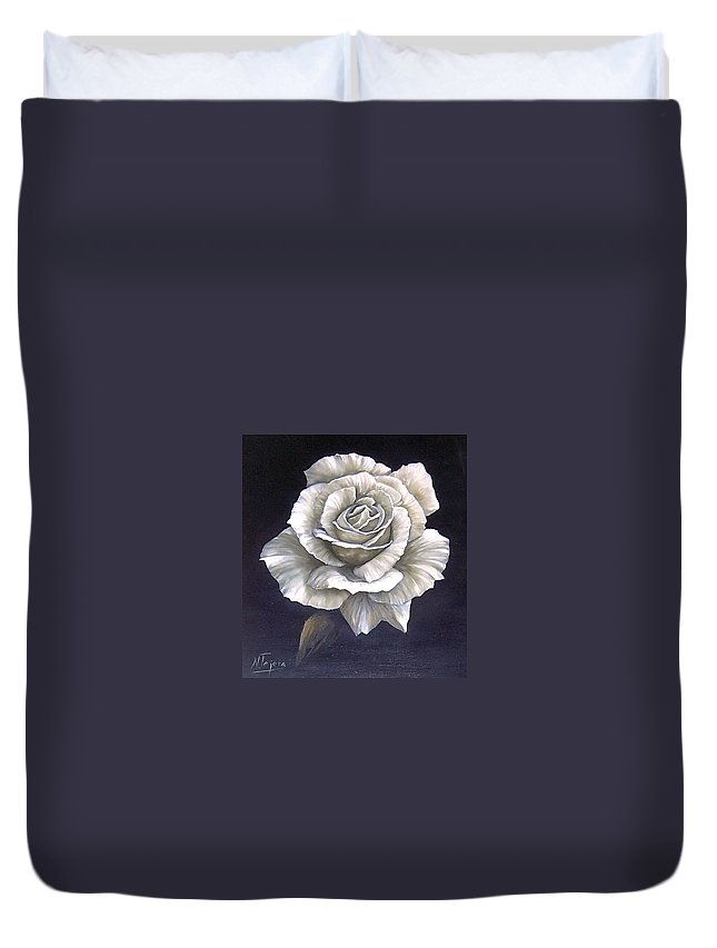 Rose Flower Duvet Cover featuring the painting Opened Rose by Natalia Tejera