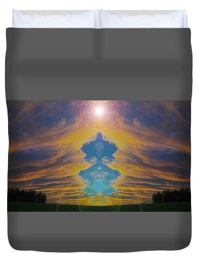Surreal Landscape Duvet Cover featuring the photograph Opening Heavens by Mykel Davis