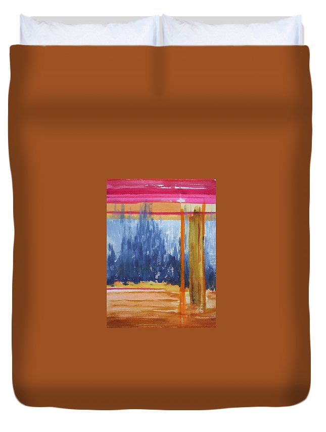 Landscape Duvet Cover featuring the painting Opening by Suzanne Udell Levinger