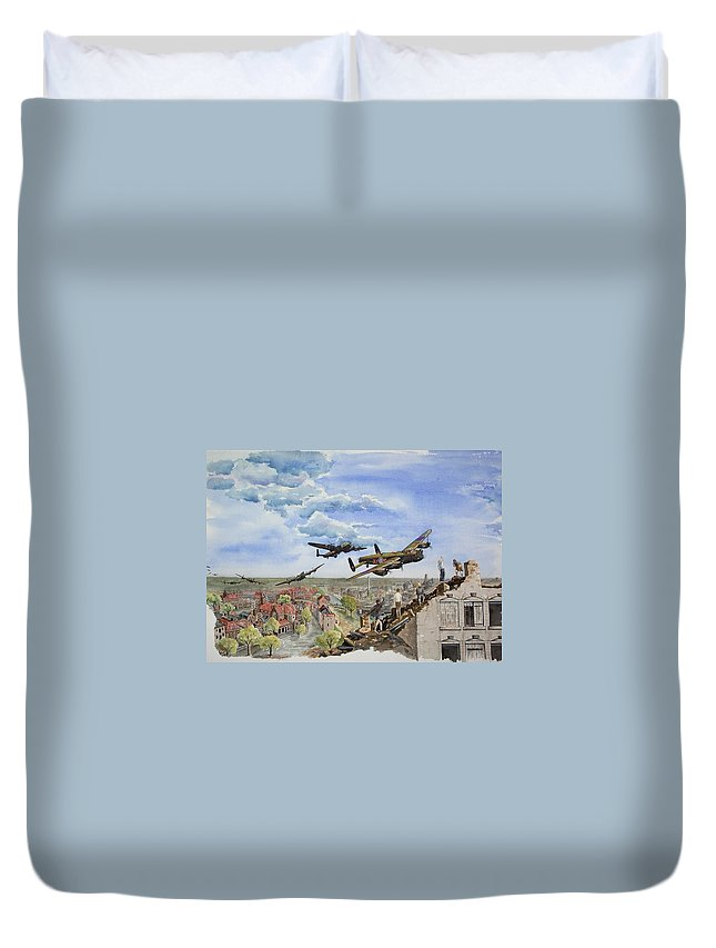 Lancaster Bomber Duvet Cover featuring the painting Operation Manna I by Gale Cochran-Smith