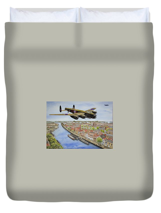 Lancaster Bomber Duvet Cover featuring the painting Operation Manna II by Gale Cochran-Smith