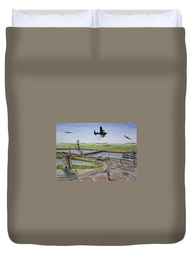 Lancaster Bomber Duvet Cover featuring the painting Operation Manna IIi by Gale Cochran-Smith