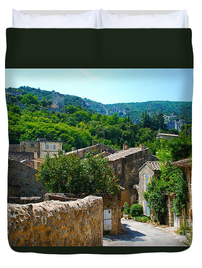 Oppede Duvet Cover featuring the photograph Oppede France - Street View by Just Eclectic