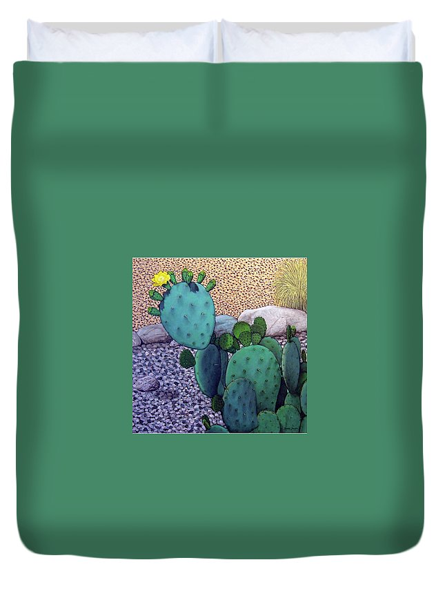 Landscape Duvet Cover featuring the painting Opuntia by Snake Jagger