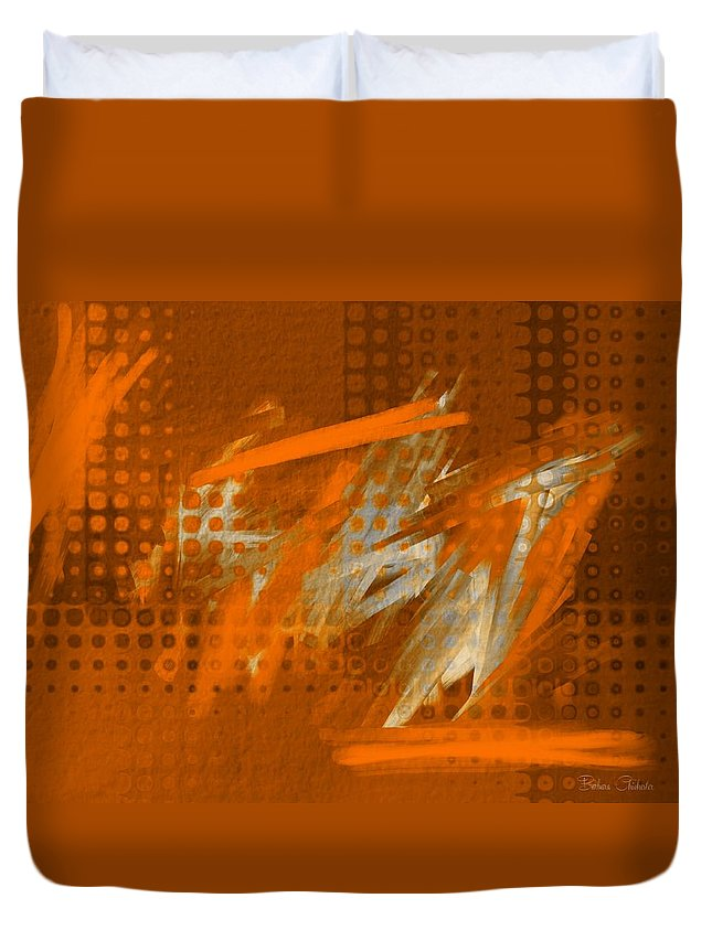 Orange Filter Duvet Cover featuring the digital art Orange Abstract Art - Orange Filter by Barbara Chichester