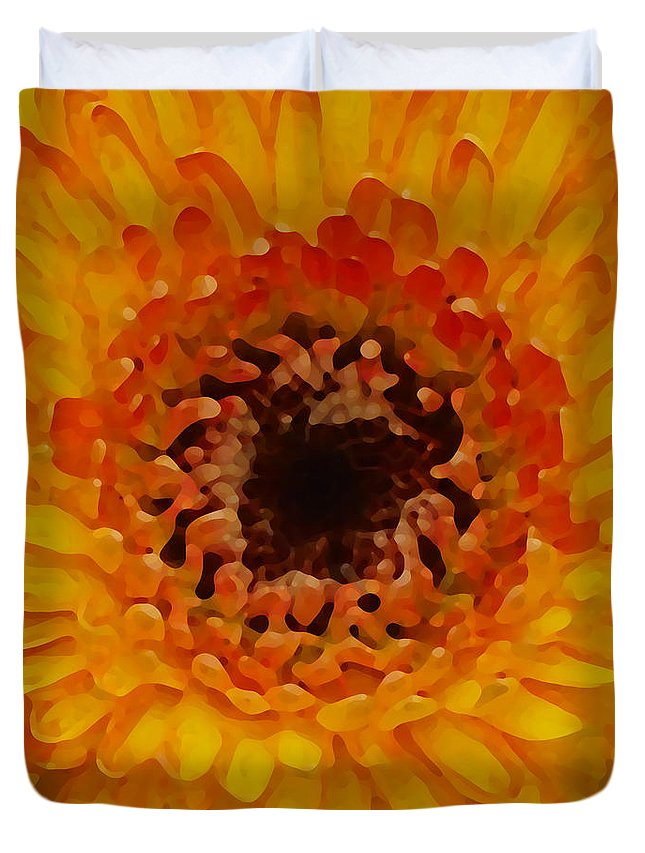 Daisy Duvet Cover featuring the painting Orange And Black Gerber Center by Amy Vangsgard