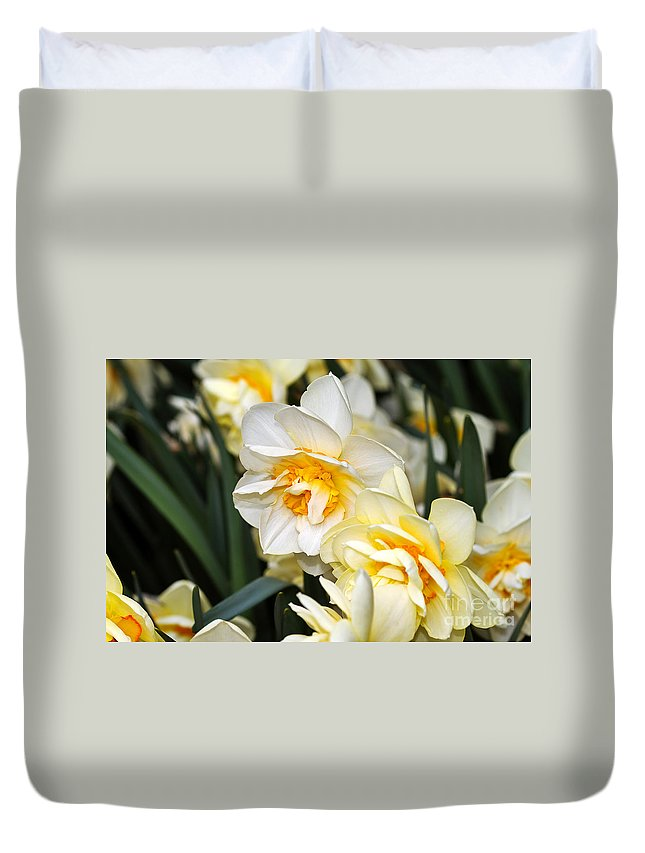 Flower Duvet Cover featuring the photograph Orange And Yellow Double Daffodil by Louise Heusinkveld