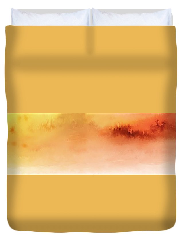 Fine Art Duvet Cover featuring the digital art Orange And Yellow Vista by David Lane