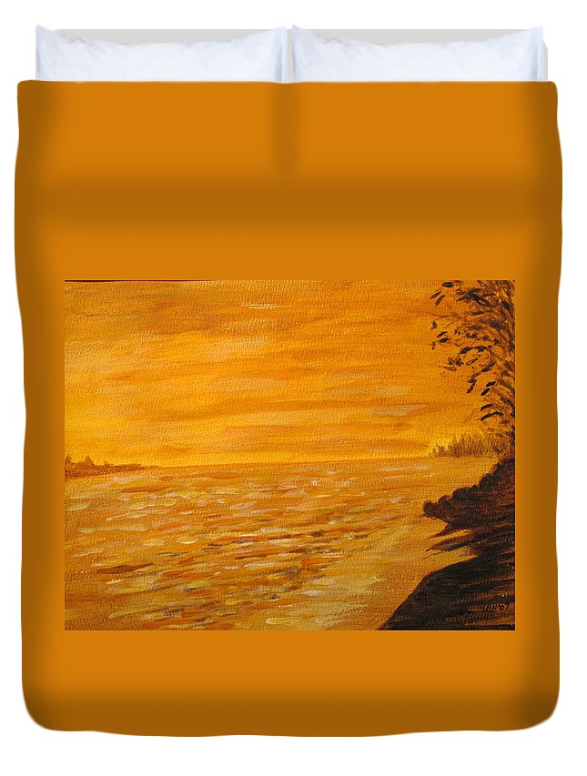 Ocean Duvet Cover featuring the painting Orange Beach by Ian MacDonald