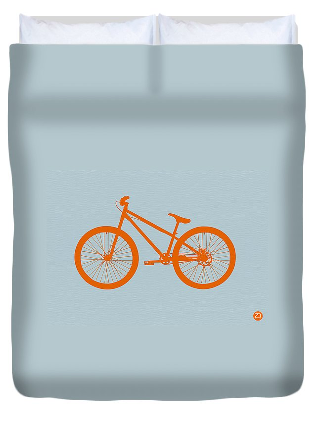 Bicycle Duvet Cover featuring the digital art Orange Bicycle by Naxart Studio