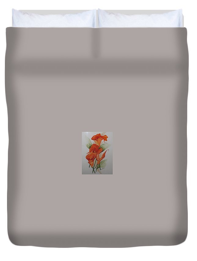 Floral Orange Lily Duvet Cover featuring the painting Orange Callas by Karin Dawn Kelshall- Best