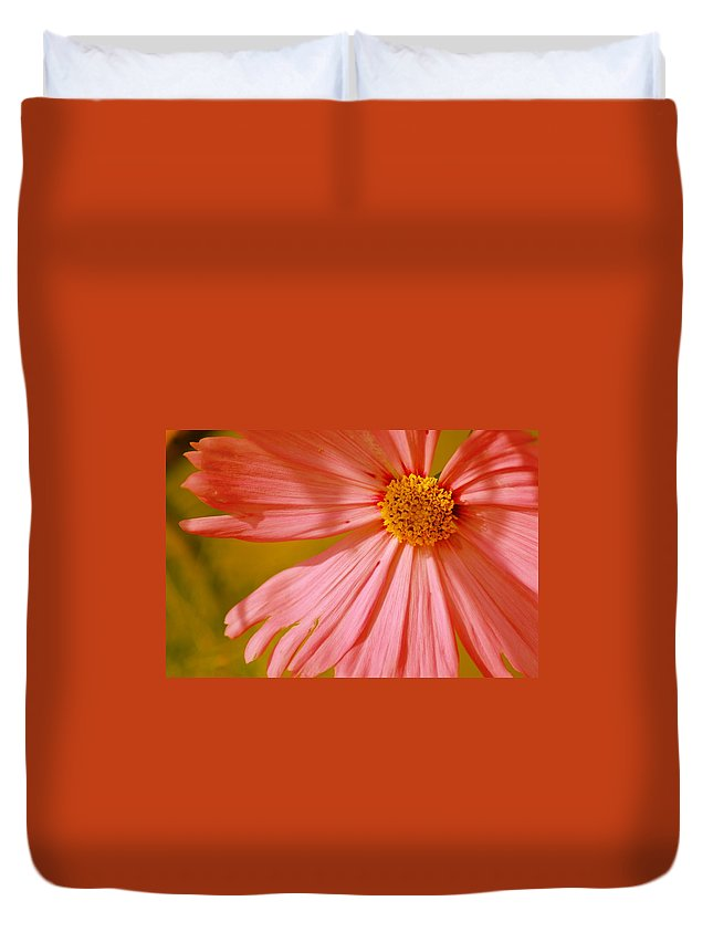 Flower Duvet Cover featuring the photograph Orange Cosmo by Donna Bentley