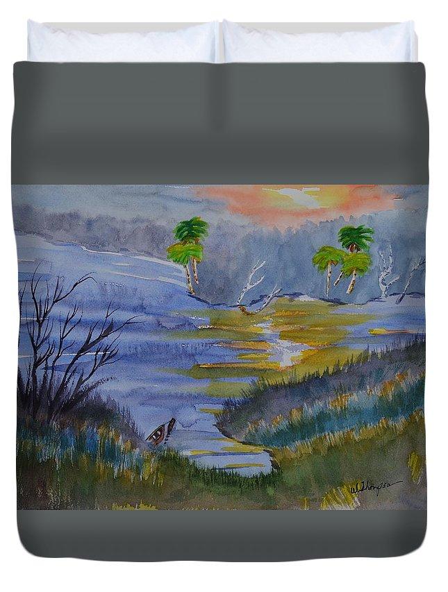 Orange Creek At Sunrise Duvet Cover featuring the painting Orange Creek At Sunrise by Warren Thompson