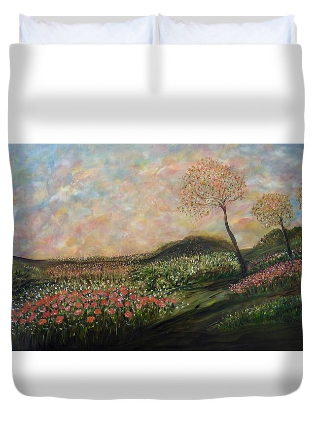 Impressionistic Landscape Duvet Cover featuring the painting Orange Crush by Sara Credito