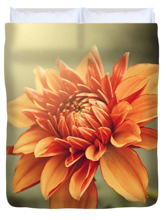 Dahlia Duvet Cover featuring the photograph Orange Dahlia by Juliana RW