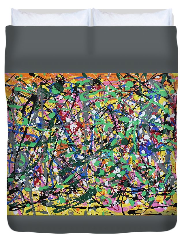 Colorful Duvet Cover featuring the painting Orange Delight by Pam Roth O'Mara