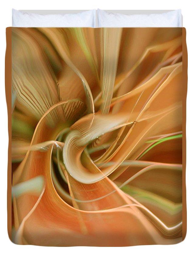 Abstarct Art Duvet Cover featuring the digital art Orange Delight by Linda Sannuti