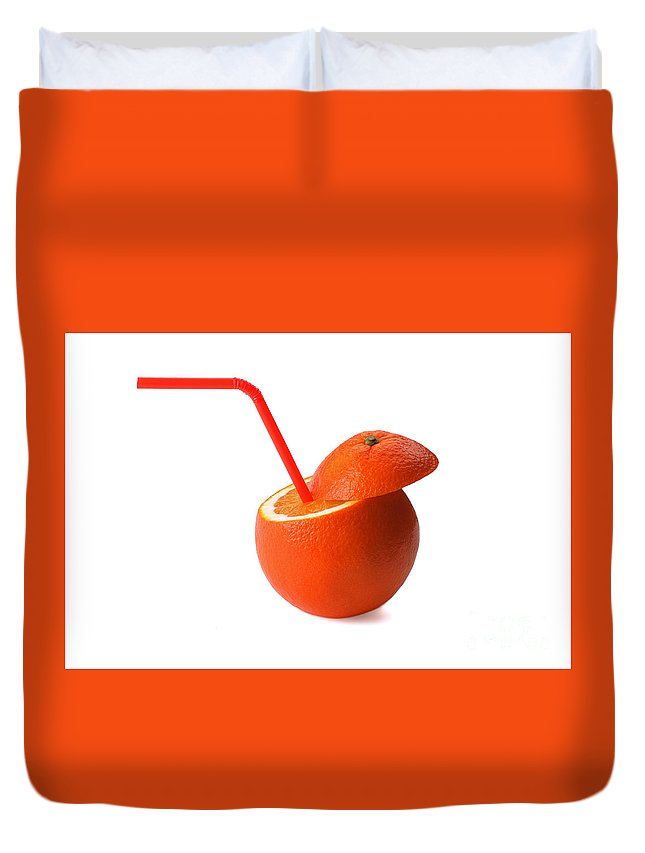 Fruit Duvet Cover featuring the photograph Orange Drink by Francesco Perre
