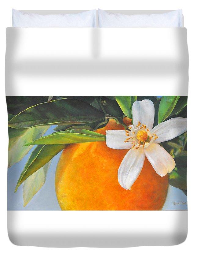 Floral Painting Duvet Cover featuring the painting Orange En Fleurs by Muriel Dolemieux