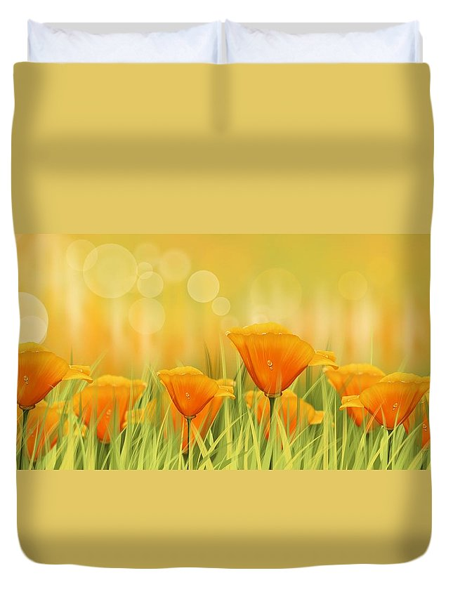 Field Duvet Cover featuring the painting Orange Field by Veronica Minozzi