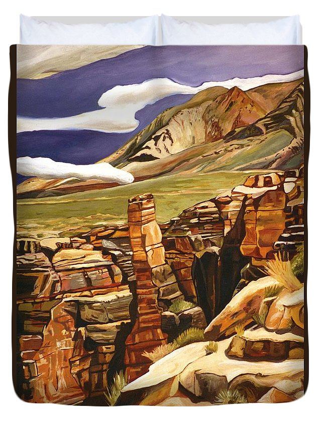 Duvet Cover featuring the painting Orange Flats by Kathleen Heese