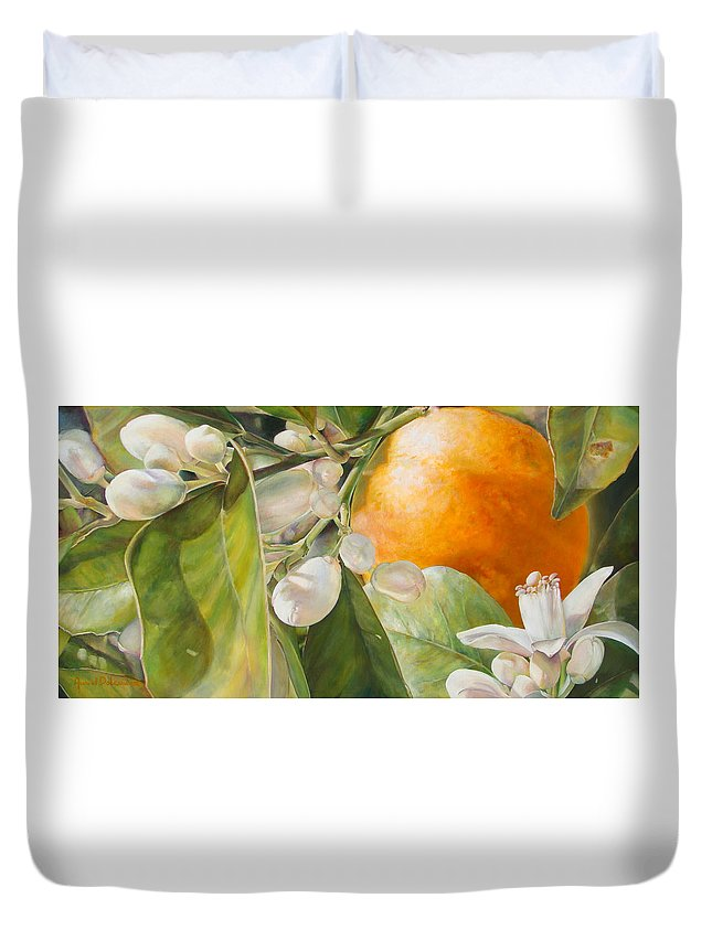 Floral Painting Duvet Cover featuring the painting Orange Fleurie by Dolemieux