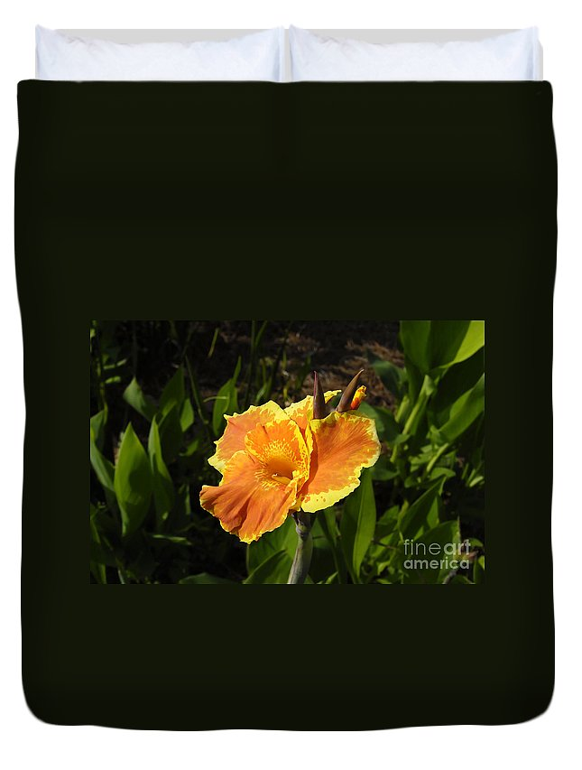 Flower Duvet Cover featuring the photograph Orange Flower by David Lee Thompson