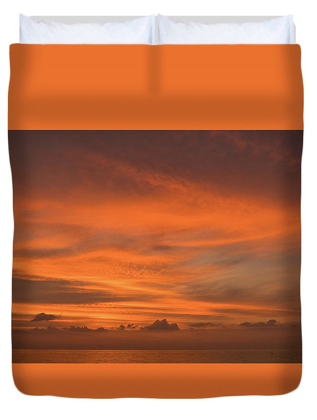 Florida Duvet Cover featuring the photograph Orange Insanity Sunset Venice Florida by Lawrence S Richardson Jr