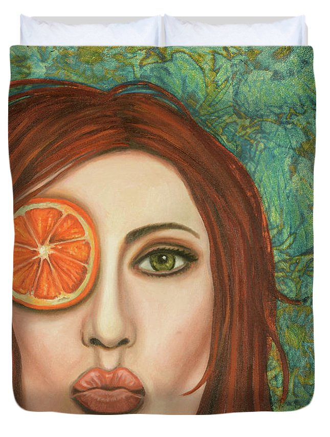 Orange Duvet Cover featuring the painting Orange Kiss by Leah Saulnier The Painting Maniac