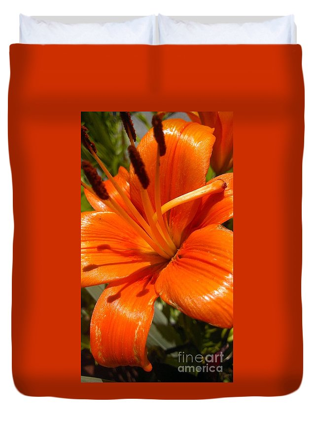 Orange Lily Duvet Cover featuring the photograph Orange Lily by LKB Art and Photography