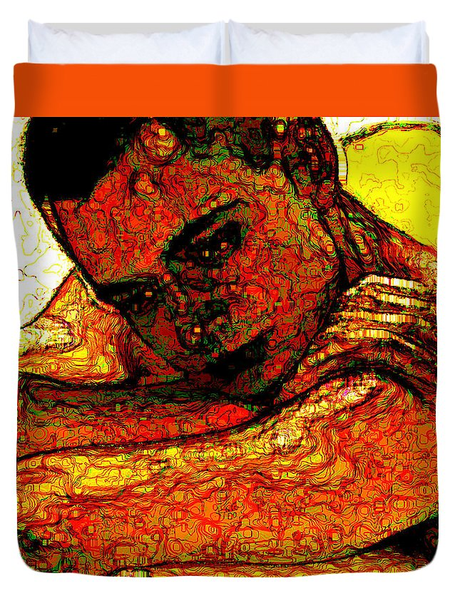 Man Duvet Cover featuring the digital art Orange Man by Stephen Lucas