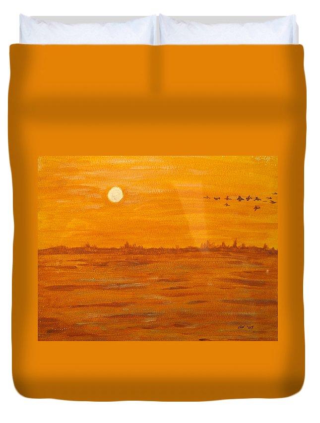 Orange Duvet Cover featuring the painting Orange Ocean by Ian MacDonald