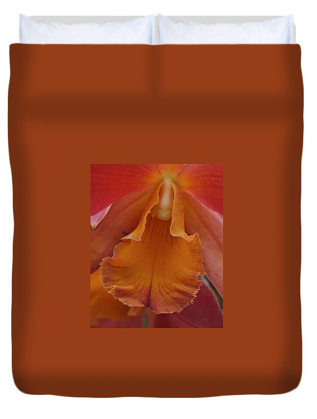 Orange Duvet Cover featuring the photograph Orange Orchid 3 by Michael Peychich