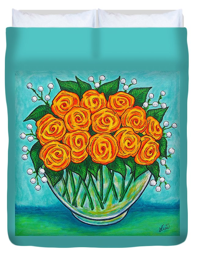 Orange Duvet Cover featuring the painting Orange Passion by Lisa Lorenz