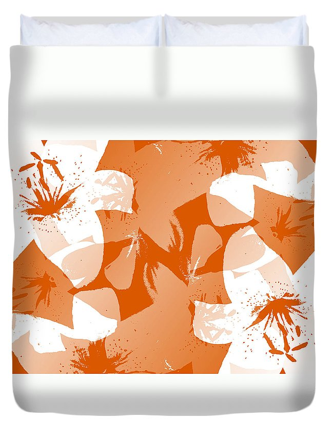 Botanical Duvet Cover featuring the digital art Orange Poster Lilies by Ruth Palmer