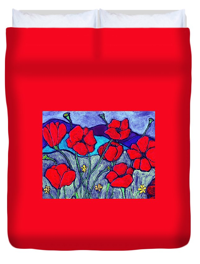 Flowers Duvet Cover featuring the painting Orange Red Poppies by Wayne Potrafka