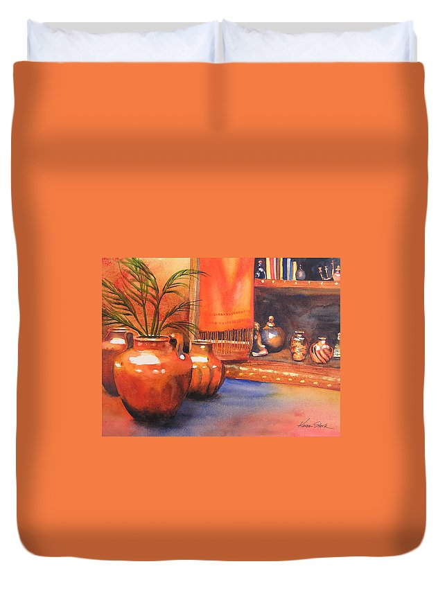 Pottery Duvet Cover featuring the painting Orange Scarf by Karen Stark